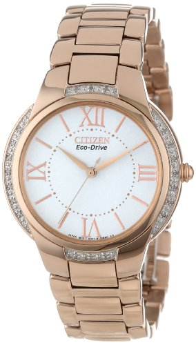 Citizen Women's EM0093-59A Ciena Eco-Drive Rose Gold-Tone Watch with Link Bracelet