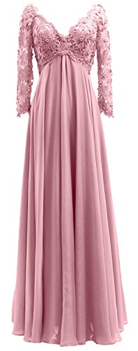 Women Pink Neck Sleeves Bride Evening Dress V The Mother Lace Blush Long Macloth Gown Of Uw6qdTacU1