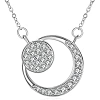 Zhulery Sun and the Moon Necklaces with 925 Sterling Silver and 3A Cubic Zirconia 18''+2'' Extender Chain