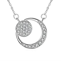 Silver Moon Flower Necklace, Women Girl Lovely Gifts Charm Cubic Zirconia Necklace ZHULERY Fine Jewelry
