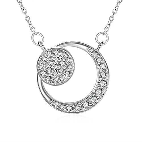 (Necklace, ZHULERY Necklace for women with 925 Sterling Silver and 3A Cubic Zirconia,18''+2'' Extender Chain, Graduation Gifts)