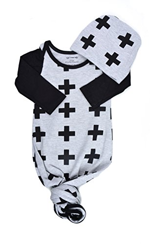 - Infant Baby Tie Nightgown and Matching Hat | Sleep Gown with A Tie Bottom | Boy Girl Unisex | Soft Stretchy Cotton Sleeper (Grey Black Plus Sign, 3-6 Month)