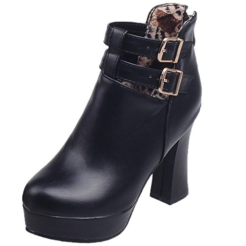 Boots Platform High Ankle HooH Black Short Boots Buckle Heel Women Fx8FXgqI