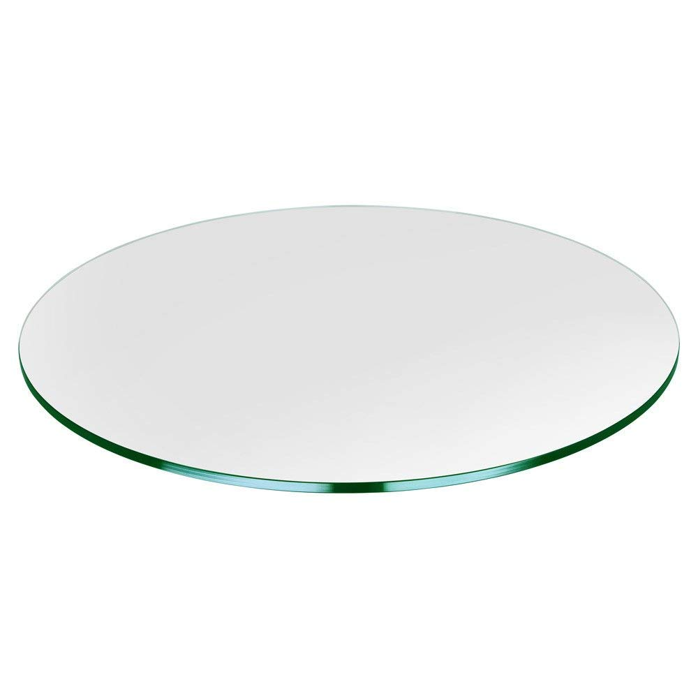 Bassett Glass | 24'' Round Tempered Glass Table Top - 1/2'' Thick - Flat Polished Edge