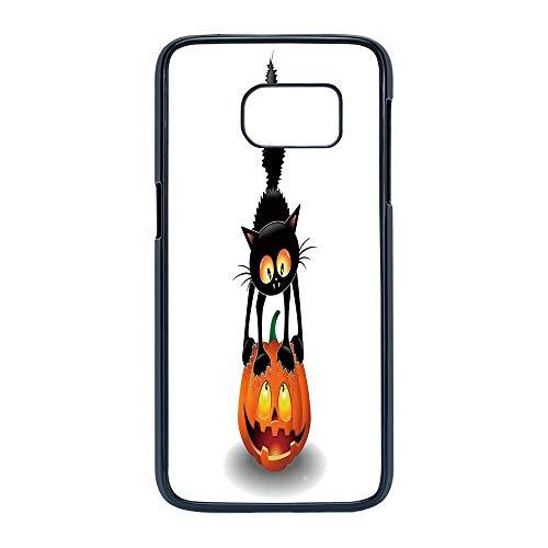 Cell Phone Case Compatible Samsung Galaxy S7,Halloween Decorations - Hard Plastic Phone Case/Black - Black Cat on Pumpkin Spooky Cartoon Characters Halloween Humor Art ()