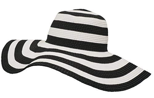 Roffatide Women's UPF50+ Foldable Striped Straw Sun Hat Floppy Wide Brim Beach Cap Black - Lightweight Striped Cap