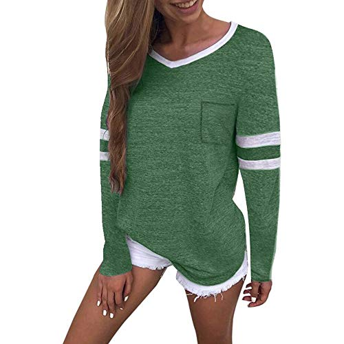 Caopixx Women Tops Long Sleeve O-Neck Patchwork Clothes