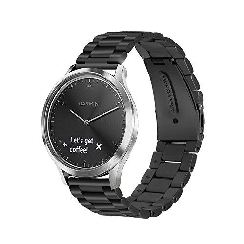 IVSO Garmin Vivomove HR Wristband - Metal Bracelet Replacement Wrist Band/Watchband with Unique Magnet Lock for Garmin Vivomove HR (Black)