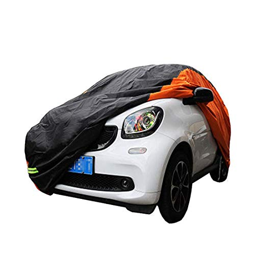 (KMT Black+Orange Car Cover Covers Outdoor Indoor for Smart Fortwo Fourfor Waterproof Anti-UV Rays Dirt Dust (2009-2014 2-Doors Fortwo))