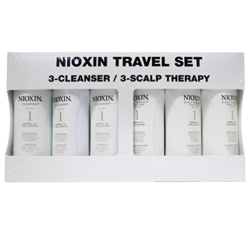Nioxin Cleanser & Scalp Therapy Duo *Value Pack* Travel Size (50ml) 1.7 oz. ea. (System #1 Duo 3-Pack) by Nioxin Cleanser (Image #1)