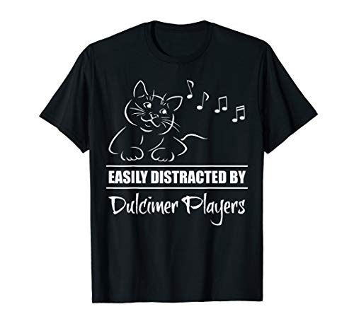 Curious Cat Easily Distracted by Dulcimer Players Whimsical T-Shirt