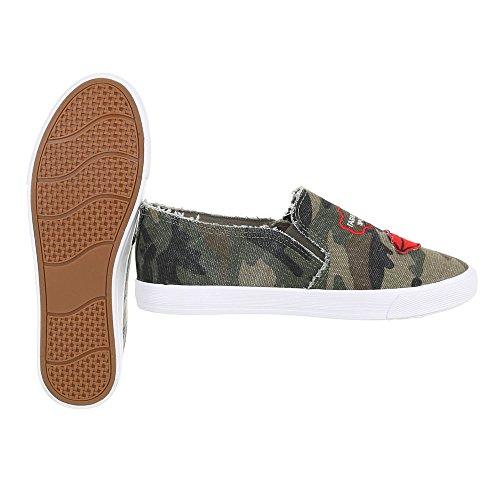 R55 Khaki de Design Ital Zapatillas 4 casa Mujer wWH4YwxqpA