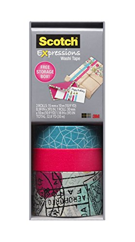 Scotch Expressions Washi Tape, Multi-Pack with Storage Box, Neon Pink, Travel, 3 Rolls (C317-3PK-TRV)