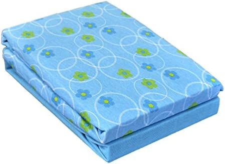 Dudu N Girlie Cotton Moses Basket Fitted Sheets 2-Piece Flower Blue