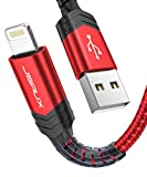 PC Hardware : iPhone Charger Cable, JSAUX [Apple MFi Certified] Lightning Cable 6ft Nylon Braided USB Fast Charging Cord Compatible with iPhone 11 Xs Max X XR 8 7 6s 6 Plus SE 5 5s 5c, iPad, iPod - Red