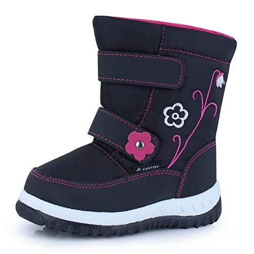 CIOR Fantiny Winter Snow Boots for Boy and Girl Outdoor Waterproof with Fur Lined(Toddler/Little Kids) U118WXZ012-black-24