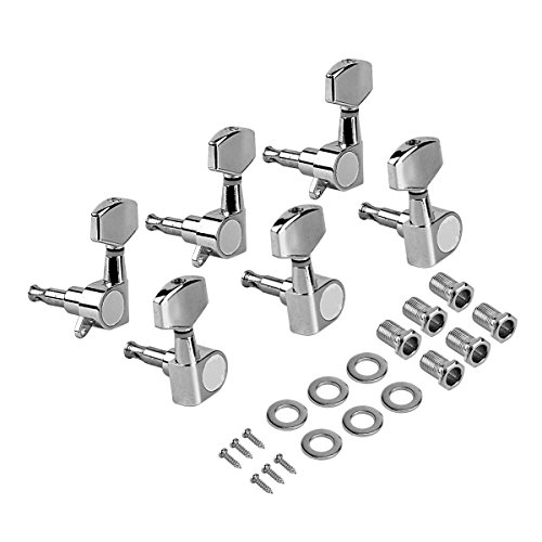 Kmise Electric Guitar Tuning Pegs Tuners Keys Machine Heads for Acoustic Parts Replacement 3L3R Chrome Closed Gear from Kmise