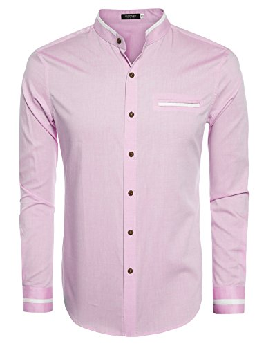 COOFANDY Men's Slim Fit Banded Collar Dress Shirt Casual Long Sleeve Striped Button Down Shirt (XXXL, P) Pink Banded Collar Broadcloth Shirt