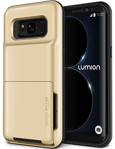 Galaxy S8 Plus Case, [HEAVY DUTY DROP PROTECTION] Hybrid Card Slot Holder Wallet Cover [Shock Absorption Cover] for Samsung Galaxy S8 Plus by Lumion (D.Folder - Gold Sand)