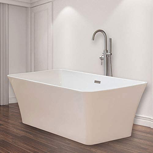 WOODBRIDGE B-0004 White 67 Acrylic Freestanding Bathtub Contemporary Soaking Tub with Brushed Nickel Overflow and Drain, BTS1609