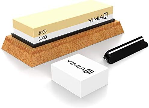 YIMIA Premium Sharpening Stone 2 Side Grit 3000/8000 Whetstone | Best  Kitchen Knife Sharpener Waterstone with Non-Slip Bamboo Base & Flattening  Stone