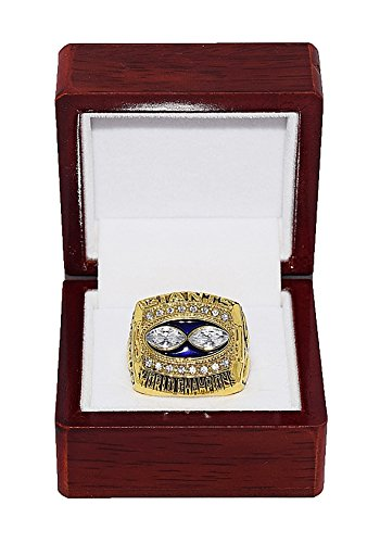 New York Giants Super Bowl Ring - NEW YORK GIANTS (Jeff Hostetler) 1990 SUPER BOWL WORLD CHAMPIONS (Vs. Buffalo Bills) Vintage Rare & Collectible High-Quality Replica NFL Football Gold Championship Ring with Cherrywood Display Box