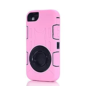 SudmanD High Quality Full Protective Ring Case/cover for Apple iPhone 5/5s/5c, PC+ Silica gel Case with Stand for Apple iPhone 5/5s/5c-Pink