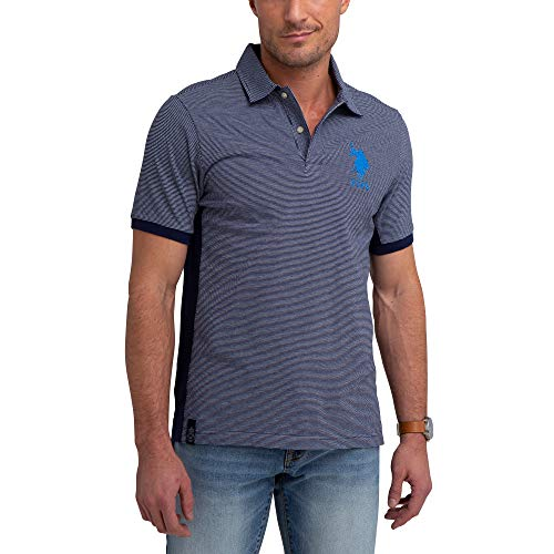 (U.S. Polo Assn. Mens Stripe Color Block Pique Polo Shirt with Big Pony - Classic Navy, Large )