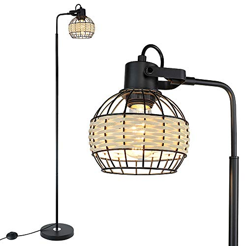 DLLT Metal Floor Lamp, Adjustable Head Standing Lamp with Heavy Metal Based, Farmhouse Tall Floor Lamps Reading Lighting…