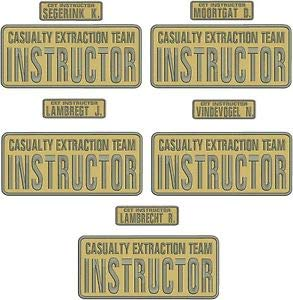 Team Instructor Embroidery Patches 4X10 and 1X5 Hook by HighQ Store ()