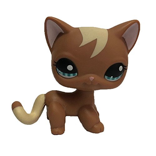 Meidexian888 Rare Littlest Pet Shop, LPS Cartoon Cream Tan Brown Heart Face Short Hair Cat