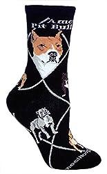 American Pit Bull Terrier Black Ultra Lightweight Cotton Crew Socks