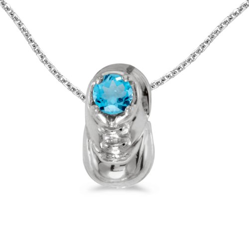 14k White Gold Round Blue Topaz Baby Bootie Pendant with 18