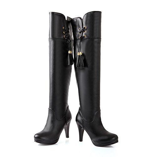 Snow PU Solid B BalaMasa 5 Black High Boots M US High 8 Heels Knee Womens AAxqX08w