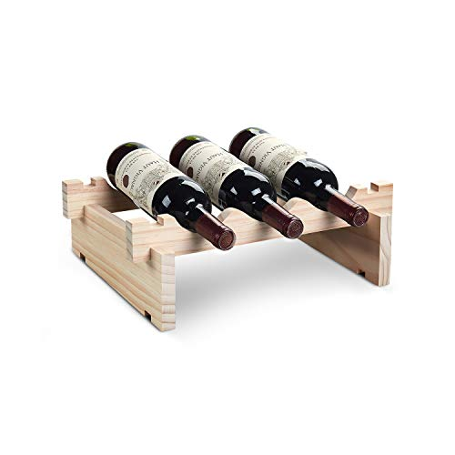 - defway Wood Wine Rack Countertop - Stackable Storage Wine Holder 3 Bottle Free Standing Natural Wooden Shelf for Bar Kitchen (1-Tier Natural Wood) ...