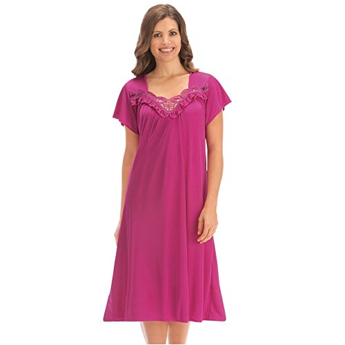 Womens Applique Trim Tricot Nightgown