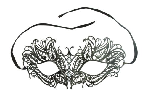 Burlesque Boutique Laser Cut Metal Venetian Mask Black with Rhinestone