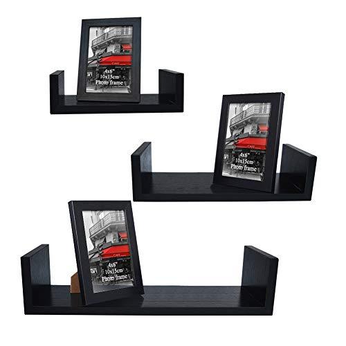 Giftgarden U-Shaped Floating Shelves Set of 3, 3 PCS Picture Frames Included Wall Mounted Shelf for Bathroom, Bedroom, Living Room, Kitchen, Office