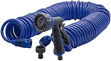 Riegolux Manguera Espiral con Pistola - Manguera Helicoidal Autoenroscable con Multifunción, Admite Fuertes Presiones De Agua. Extensión de hasta 15 Metros: Amazon.es: Jardín