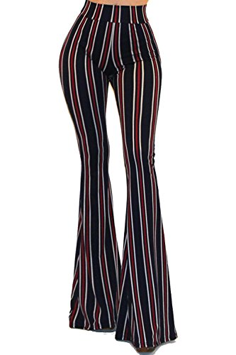 Striped Wide Leg Pants - Vivicastle Women's Boho Solid Hippie Wide Leg Flared Bell Bottom Pants (C30, NVY/red, Small)