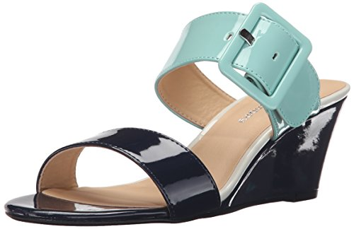 Open Toe Patent Leather Wedges (CL by Chinese Laundry Women's Tonya Wedge Sandal Slide, Navy/Cool Patent, 8.5 M US)