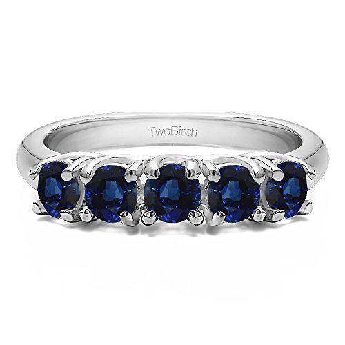 (Sterling Silver Sapphire .5 CT Sapphire Five Stone Trellis Set Ring (Size 3 To 15 1/4 Size Interval))