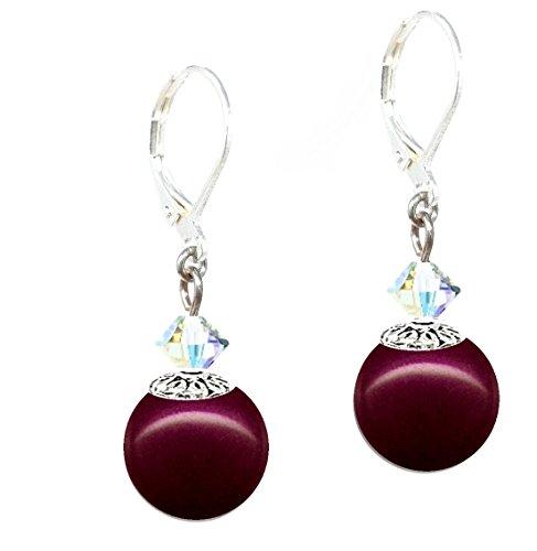 - Drop Earrings with Swarovski (tm) Crystal Pearls - Blackberry (E598)