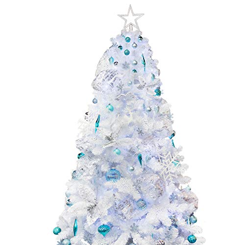 KI Store Artificial Christmas Tree with Decoration Ornaments Blue and White Christmas Theme Decorations Including 7 Feet Full Christmas Tree, 166pcs Ornaments, 2 pcs 59ft USB Mini LED String Lights