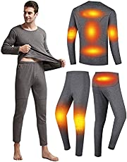 Mens Electric Heated Thermal Underwear set Men's Travel Heated Pants and Shirt