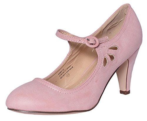 Chase & Chloe Kimmy-21 Womens Round Toe Mid Heel Mary Jane Pumps-Shoes, Rosepink Pu, 6 (Pink Mary Jane Dress Shoes)