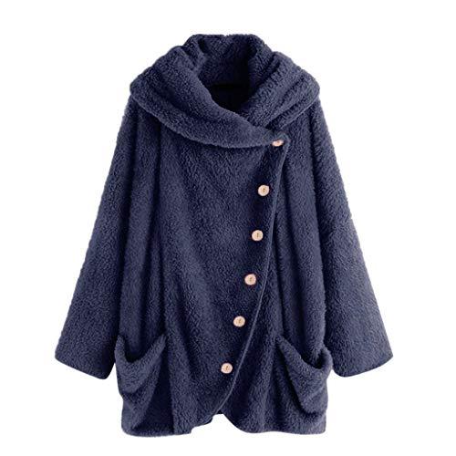 Xinantime Womens Fleece Casual Overcoat Solid Turtleneck Big Pockets Cloak Coats Vintage Loose Oversize Coats Dark Blue ()