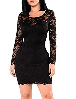 Miishare Women's Floral Lace Long Sleeve Bodycon Cocktail Party Dresses
