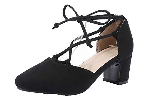 Medio Tacco Gmmlb010420 Puro Pelle Sandali Mucca Nero Di Agoolar Allacciare Donna xq0YSSwa