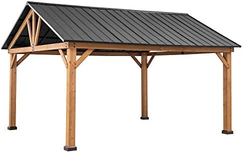 Sunjoy A102008101 Princeton Collection 12×14 ft. Cedar Framed Gazebo with Steel Gable Roof Hardtop, Matte Black